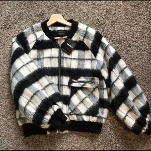 Forever 21 check print coat size M NWT
